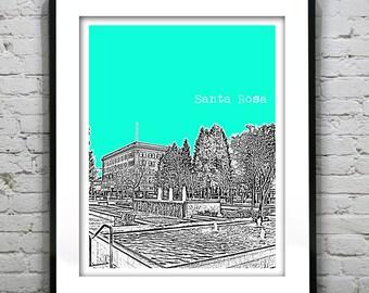 Santa Rosa California Poster Art Skyline Print