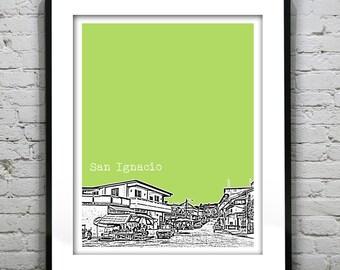 San Ignacio Belize Poster Art Skyline Print