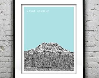 Mount Rainier Washington Art Print Poster WA Mt Rainier
