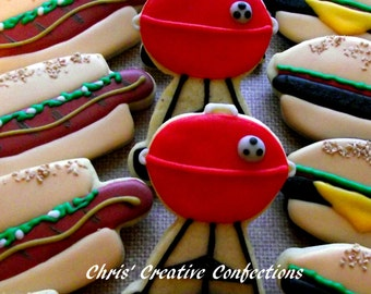 Cook-out Themed Decorated Sugar Cookies  One Dozen (12 cookies)