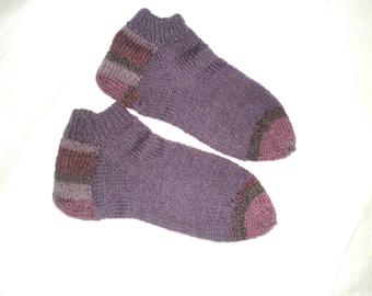 Woman Ankle Socks In Knitted Wool Blend, in Purple, Sz Med