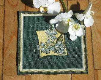 "Napkin -Tapestry - Dark green - Yellow - Gold - 18 cm x 18 cm (7"" x 7"")"
