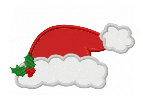 christmas santa hat applique machine embroidery design no 0090