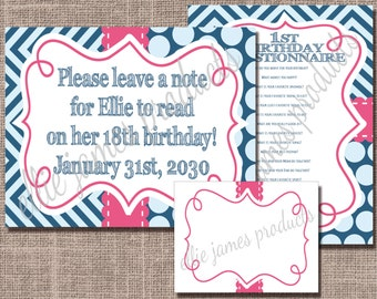 First Birthday Cake Smashing Time Capsule Sign, Letters and Questions - Preppy Pink & Blue