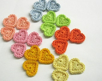 Tiny crochet hearts 0.8 inches, 21 pc.,  colorful appliques, light pastel