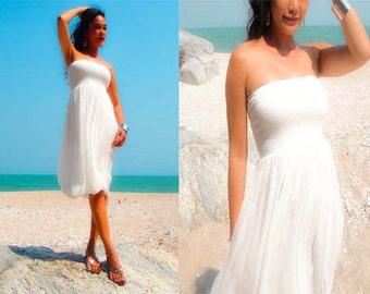 White chiffon Strapless  Beach evening short Sun dress all size
