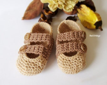 Brown handmade crochet baby Boy shoes with Brown buttons, Ballerina Newborn Baby Shoes, Slippers