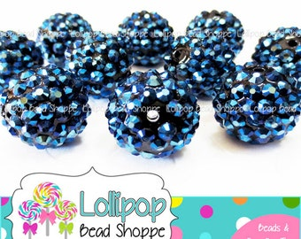 20mm NAVY BLUE Rhinestone Beads Pave Beads Bling Beads Dark Blue Resin Chunky Beads Berry Beads Plastic Bubblegum Beads Gumball Beads