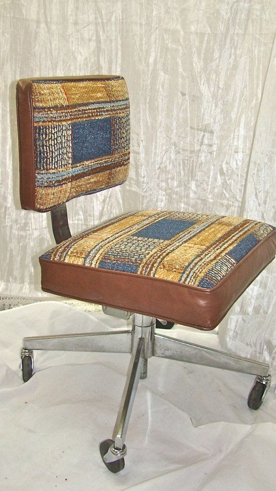 vintage swivel office desk chair on wheels with tan blue and