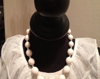 Vintage White Bauble Necklace
