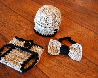 Crochet bowtie & ribbed hat