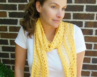 Yellow Scarf Hand Knit Bright Sunshine Yellow Light Weight Lacy Open Weave Scarf