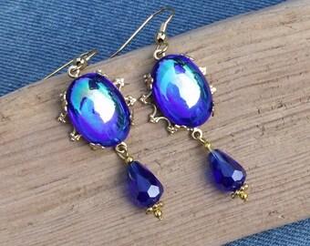Cobalt Blue Vintage Stones & Gold Drop Earrings