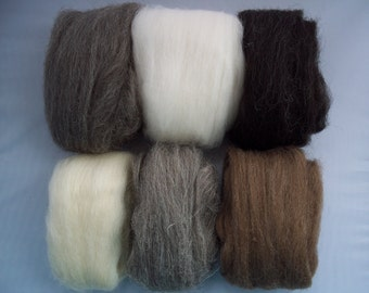 British Breed Sampler 2, Spinning Fiber, 10 natural shades 150g/5.3oz