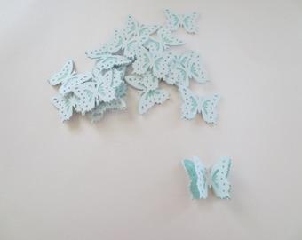 20 Light Blue 3D Die Cut Butterfly