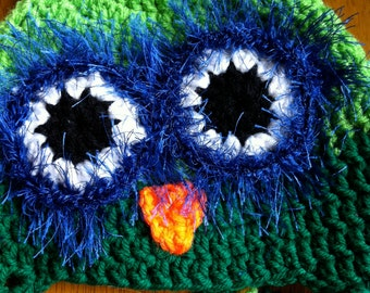 Green and blue crocheted owl hat for toddler or small child