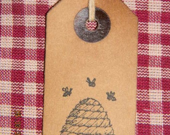 100 small primitive Beehive coffee stained  hang tags