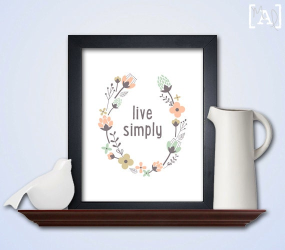 Live simply wall art coral and green floral wreath for Live simply wall art