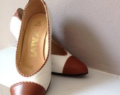 90s Heels white and tan shoes size 3