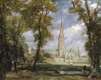"John Constable : ""Salisbury Cathedral from the Bishop's Garden"" (1823) - Giclee Fine Art Print"