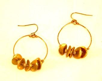Gold Tear Drop Hoop Earrings