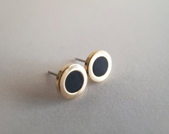 Black Gold Stud Earrings - Hypoallergenic Surgical Steel Posts