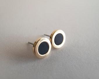 Black Gold Stud Earrings - Hypoallergenic Surgical Steel Posts