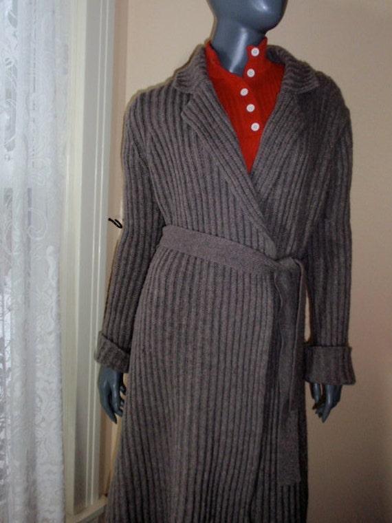 Mary Mcfadden Slate Gray Wrap Sweater Coat Maxi Midi