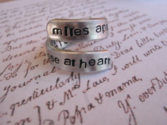 Long distance relationship miles apart bff ring anniversary