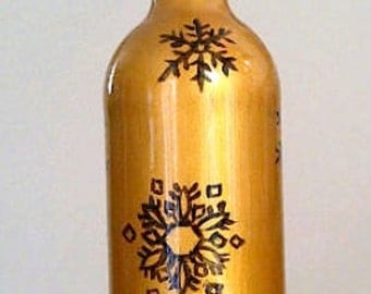 Hand Painted Snowflakes on Glass