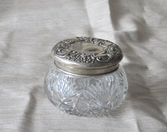 Antique Cut Crystal and Sterling Silver Vanity Jar