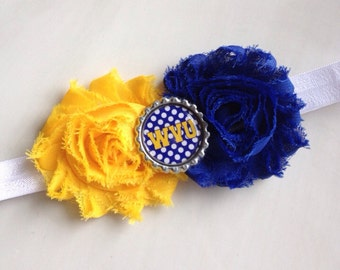 WVU headband, blue and gold, football headband