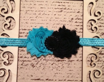Turquoise blue and black shabby chic chiffon flower mini dot elastic headband with rhinestone embellishment