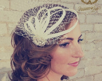 "Ivory Bridal Hair Accessories with Straw Braid, Netting, Bridal Hair clip, Bridal Fascinator, Straw Braid, Netting & Rhinestones ""SOPHIA"""