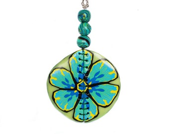 Polymer clay necklace Flower necklace Statement necklace Blue necklace Yellow necklace Round Spring Wire necklace One of a kind necklace
