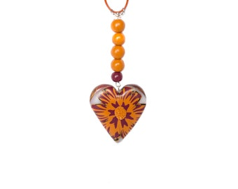 Polymer clay necklace Flower necklace Heart necklace Orange necklace Beadwork necklace bordeaux necklace Beaded necklace Valentines day