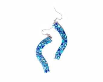 Polymer clay earrings  Blue earrings Dangle earrings Spring earrings OOAK earrings Geometric earrings Silver earrings Casual earrings