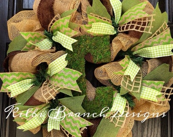 Burlap wreath with Moss center letter and neutral ribbon
