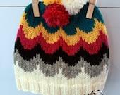 RUBY: Handknit baby hat, 6 month size, stripes, pom-poms