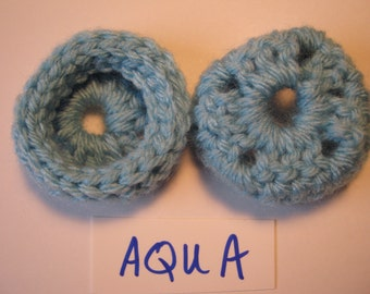 AQUA  Ear Pads, Ear Cookies for Phone Headset, Call Center, Hand-crochetted, NEW. AQUA