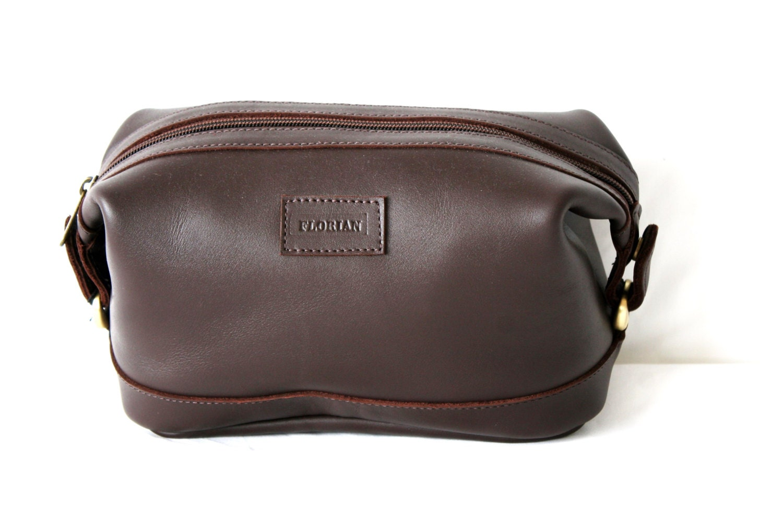 mens leather toiletry bag dopp kit shave bag by anoadesignltd