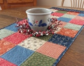 Quilted Table Runner, table runner, quilted patchwork table runner, patchwork table runner, quilted table linens, etsy table runners