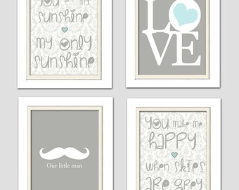 Nursery Quad, Mustache Nursery, You are my sunshine, Damask Nursery, Gray and Teal, Set of 4 8X10