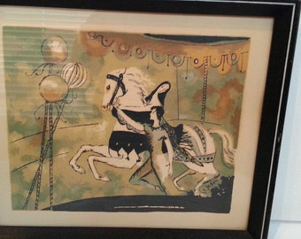 Vintage Picture - Lithograph Framed  -Circus Performer Print - Trapeze - White Horse-Nursery Decor