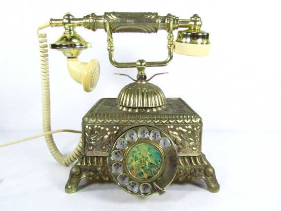 Vintage Telephone Brass Telephone Vintage Reproduction Dial