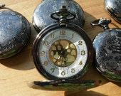 Gunmetal Grey Black Neo Victorian Wedding Set of 5 Matching Pocketwatches Groomsmen Gift Idea - PocketwatchPurveyor