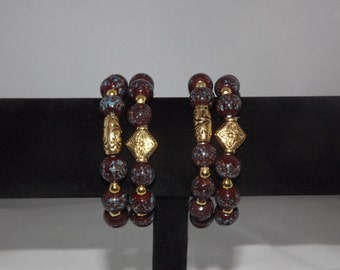 12 mm round lampworked glass beaded bracelets