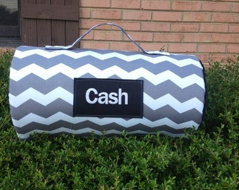 1 or 1 1/2 inch foam. Chevron Personalized day care/ kindergarten nap mat