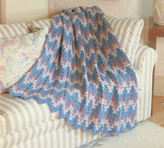 Knit Afghan Patterns Worsted Weight : CROCHET AFGHAN Pattern Lacy Chevron Worsted Weight Yarn