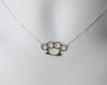 Silver Brass Knuckles Necklace - Steampunk Necklace - Sterling Silver Necklace
